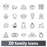 Family, Parenting, Childhood Outline Vector Icons vector illustration