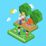 Family parenting people concept flat 3d isometric parents kids. Flat 3d family parenting children kids people concept. Isometric parents in park mother father Stock Photography