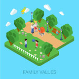 Family parenting people concept flat 3d isometric parents kids. Flat 3d family values parenting children kids people concept. Parents in park mother father pram Stock Photo