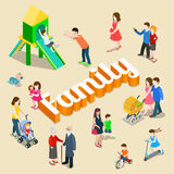 Family parenting vector isometric concept Stock Image
