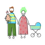 Family Parents With Child And Baby Pram Stock Photography