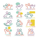 Family parents and child care logo templates. Vector symbols of Stock Images
