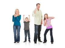 Family: Parents and Children Cheer and Applaud Royalty Free Stock Photography