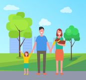 Family Parents with Kid in Park Vector Illustration royalty free illustration