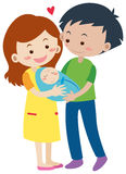 Family with parents and newborn baby Royalty Free Stock Images