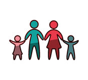 Family parents silhouette isolated icon. Vector illustration design Stock Photo