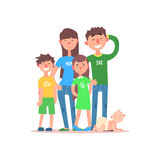 Family with Parents Wearing Jeans. Vector Royalty Free Stock Photography