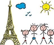 Family Paris Eiffel Stock Photography