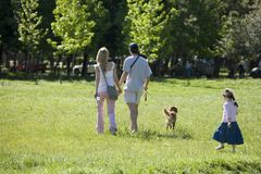 Family in the park. Family and dog enjoys Sunday afternoon in park Stock Images