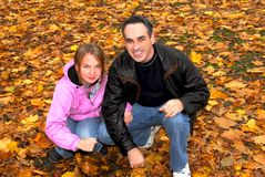 Family park autumn Stock Photo