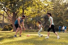 Family in the park playing football. They play a red soccer ball Royalty Free Stock Image