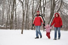 Family in park at winter Royalty Free Stock Photos