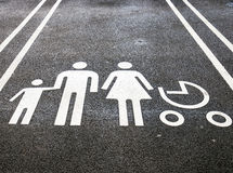 Family parking. A designated parking spot at a supermarket intended only for families Stock Photography