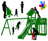 Family. Part 4. Silhouettes of children and parents on the playground Stock Photos