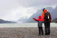 Family in patagonia Royalty Free Stock Image