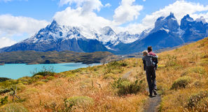 Family in patagonia. Family of two, father and son, enjoying hiking and active travel in torres del paine national park in patagonia, chile, view of cuernos del royalty free stock photo