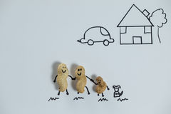 Family peanut figurine with dog near house. Happy family peanut figurine with dog near house Stock Images