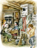 Family in peasant russian interior. With stove Royalty Free Stock Photo