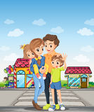 A family at the pedestrian lane Royalty Free Stock Photos