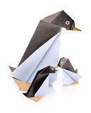 Family penguin origami Stock Image