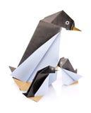 Family penguin origami. On white background stock image