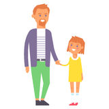 Family people adult happiness smiling father daughter togetherness parenting concept and casual parent, cheerful. Lifestyle happy character vector illustration Royalty Free Stock Image