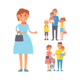 Family people adult happiness smiling group togetherness parenting concept and casual parent, cheerful, lifestyle happy. Character vector illustration. Healthy Royalty Free Stock Photos
