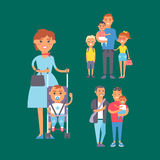 Family people adult happiness smiling group togetherness parenting concept and casual parent, cheerful, lifestyle happy. Character vector illustration. Healthy Stock Photo
