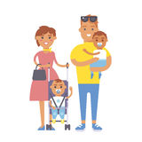 Family people adult happiness smiling group togetherness parenting concept and casual parent, cheerful, lifestyle happy. Character vector illustration. Healthy Stock Images