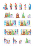 Family people on Christmas winter vacation happy resting together vector Stock Image