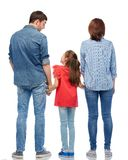 Family holding hands from back on white background. Family and people concept - mother, father and little daughter holding hands and talking over white stock photo