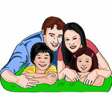 Family people. Father mother boy and girl realistic drawing Royalty Free Stock Photo