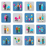 Family and people flat icons Stock Photography