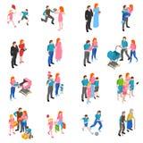 Family people Isometric Icons Set Stock Photography
