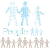 Family people row word population tile. Rows word People in shape of family tile horizontally for borders royalty free illustration