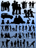 Family People Silhouettes Stock Image