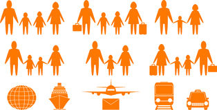 Family people and travel objects Royalty Free Stock Photography