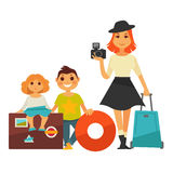 Family people travel vector flat icons woman and children on vacation trip Royalty Free Stock Images