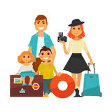Family people travel vector flat icons woman, man and children vacation trip. Family people on travel. Mother woman and father man couple with photo camera and Royalty Free Stock Images