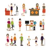 Family people vector flat icon set vector illustration