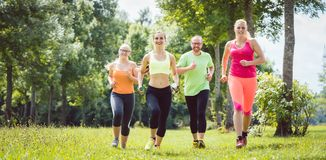Family with personal Fitness Trainer jogging. On a meadow stock photography
