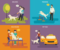 Family with pet concept flat icons set Stock Photo