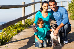 Family pet dog. Happy young family with pet dog at the beach Royalty Free Stock Image