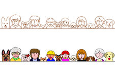 Family and pet dogs border set Royalty Free Stock Photos