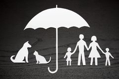 Family and pet protection coverage concept. Concept of family and pet protection coverage royalty free stock image