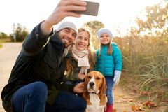 Happy family with dog taking selfie in autumn. Family, pets and people concept - happy mother, father and little daughter with beagle dog taking selfie by stock image