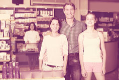 Family in pharmaceutical store Stock Images