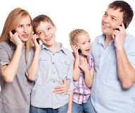 Family with phone Stock Image