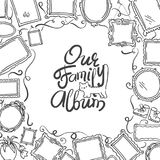 Family Photo Album cover - freehand drawing of picture frames and lettering. Stock Image