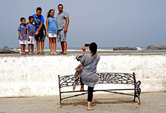 Family photo at Essaouira royalty free stock image